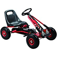 Vroom Rider Racing Pedal Go-Kart Ride Ons with Pneumatic Tire, Black