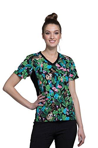 Cherokee Fashion Prints Women's V-Neck Knit Panel Floral Print Scrub Top Medium Print -