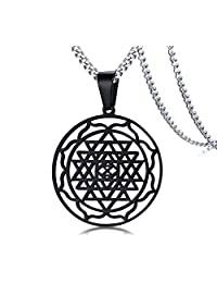 Black Sri Yantra Pendant Hinduism Symbol Stainless Steel Jewelry Sri Chakra Necklace,Amulet Talisman Charm Sign