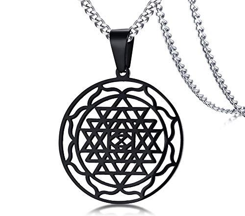 MPRAINBOW Black Stainless Steel Gold Sri Yantra Sri Chakra Sacred Geometry Talisman Pendant Necklace