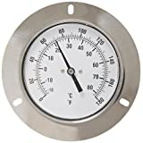 PIC Gauge V35WFF-180 Center Back Mount Wide Front Flange Thermometer 3.5 Dial Size 0-180'F&C 5 FT. Stainless Steel Capillary Plain Bulb Anti-Vibration Movement Dash Pot