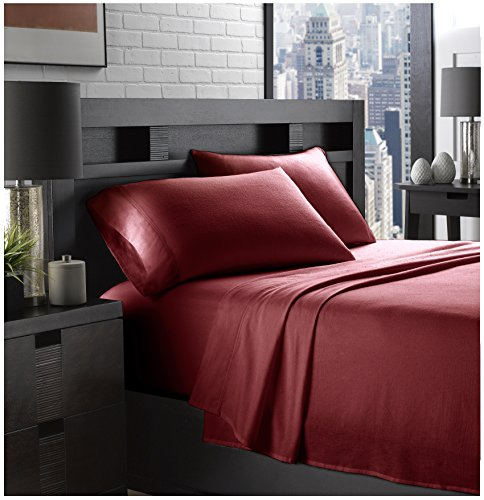 Ella Jayne Home Braun Collection 100% Cotton Soft Flannel Queen Sized Bed Sheet Set, Deep Red