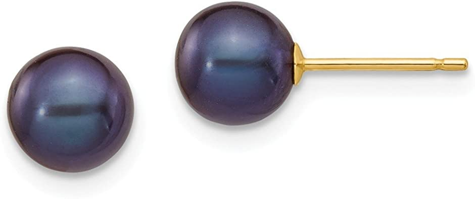 Solid 14k Yellow Gold 6-7mm Purple Button FW Cultured Pearl Stud Earrings