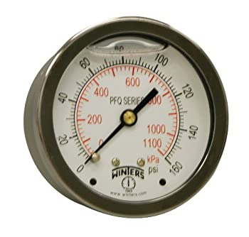"Winters PFQ Series Stainless Steel 304 Dual Scale Liquid Filled Pressure Gauge with Brass Internals, 0-160 psi/kpa,2-1/2"" Dial Display, +/-1.5% Accuracy, 1/4"" NPT Center Back Mount"