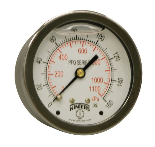 (Winters PFQ Series Stainless Steel 304 Dual Scale Liquid Filled Pressure Gauge with Brass Internals, 0-160 psi/kpa,2-1/2