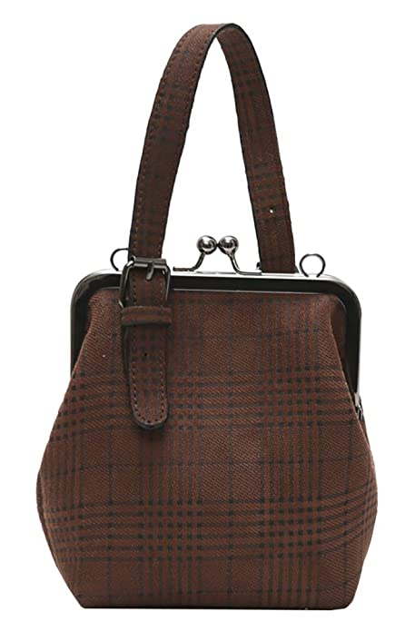 Vintage & Retro Handbags, Purses, Wallets, Bags Onfashion Womens Adjustable Strap Shoulder Handbag Crossbody Bag Plaid Clutch Purse $21.49 AT vintagedancer.com