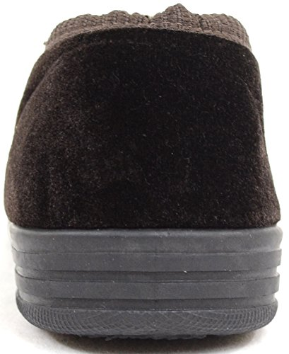 Mens Casual Twin Gusset Slip On Slippers with Rubber Sole Brown PaQEA