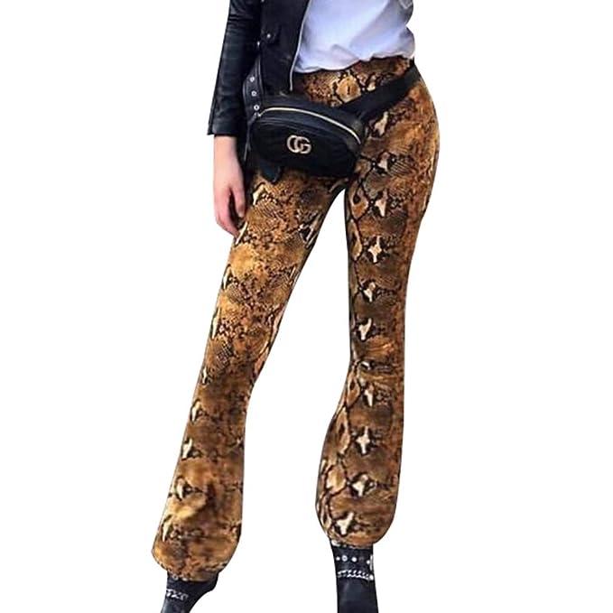 8284bb37a0 Women Wide Leg Pants, Ladies Print Slim Straight Leg Trousers ...