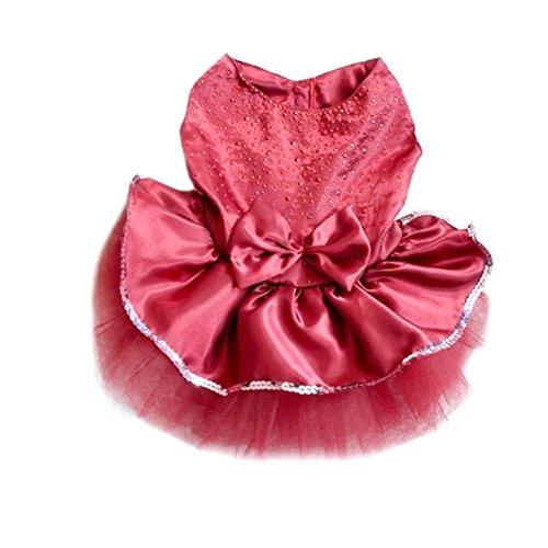 Image of PanDaDa Dog Daisy Gauze Tutu Dress Skirt Pet Dog Cat Princess Clothes Bowknot Dress (XL, Dark Red)