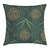Ambesonne Bamboo Throw Pillow Cushion Cover, Authentic Asian Style Composition with Oriental Motifs Leaves Eastern Elements, Decorative Square Accent Pillow Case, 20 X 20 Inches, Teal Ivory Tan