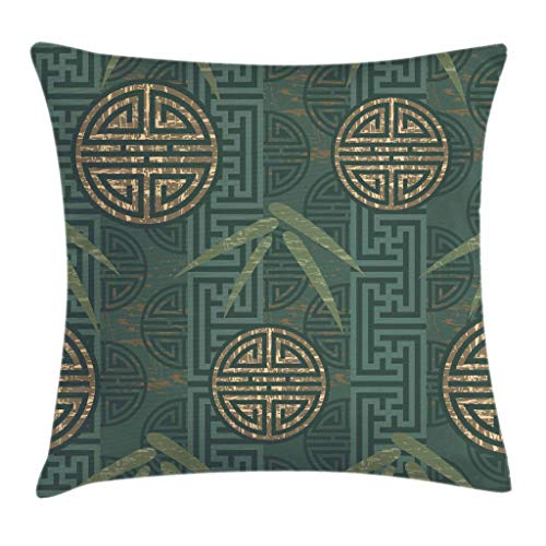 Ambesonne Bamboo Throw Pillow Cushion Cover, Authentic Asian Style Composition with Oriental Motifs Leaves Eastern Elements, Decorative Square Accent Pillow Case, 18 X 18 Inches, Teal Ivory Tan ()