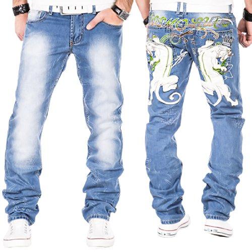 Kosmo Lupo Herren Jeans Hose Clubwear Verwaschen Denim Vintage Slim Blau / W29 - W38 / L32 & L34