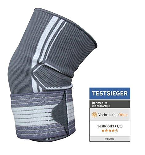 Bonmedico® Celo, die fixierbare Kniebandage sorgt für mehr Stabilität beim Sport und im Alltag, wirkt schmerzlindernd bei Gelenkkrankheiten wie Arthrose, schützt beim Laufen und Joggen, für Damen und Herren, rechts und links tragbar