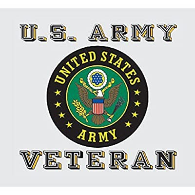 US Army Veteran License Plate Frame Gift Bundle with Army Veteran Decal (Army Crest): Automotive