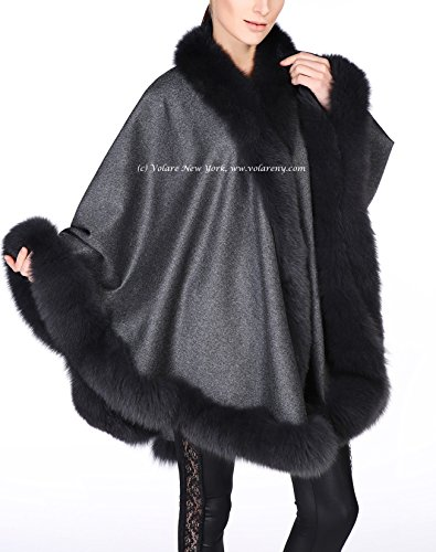 Cashmere Shawl with Fox Fur Trim (dark gray) by Volare New York