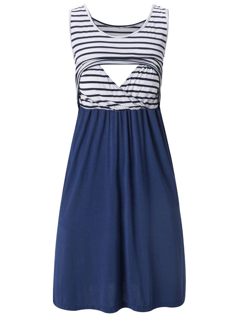 Liu & Qu Women's Sleeveless Nursing Stripe Dress Maternity Dress Breastfeeding Clothes