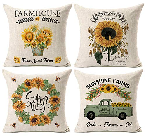 Kithomer Set of 4 Summer Graden Decorative Throw Pillow Cover Watercolor Truck with Sunflower Retro Farmhouse Decorative Pillow Case Cotton Linen Cushion Cover for Sofa Home Decor 18 inch from Kithomer