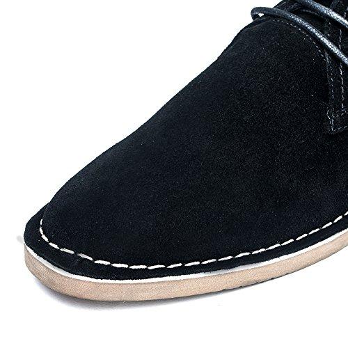 Golaiman Mens Klassiska Mocka Läder Chukka Boots Desert Storm Oxfords Skor Svarta