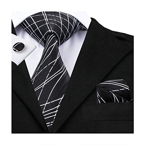 Hi-Tie New Classic Black Novelty Woven Silk Tie Hanky Cufflinks set (Classic Cufflinks Black)