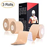 """Yoloho Elastic Kinesiology Tape - 3 Rolls Precut, FDA Approved Therapeutic Sports Tape for Pain Relief and Injury Recovery, Breathable, Water Resistant, Strong Adhesive 2"""" x 16.5 feet Strips Per Roll"""