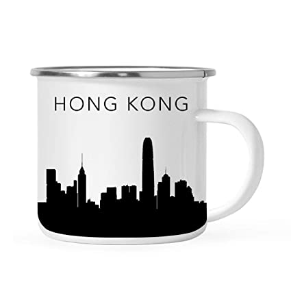 Tourist Travel Souvenir Stainless Steel Campfire Coffee Mug Gift Hong Kong Skyline