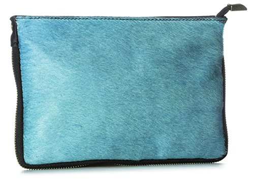 Big Handbag Shop Small Genuine Leather with Calf Fur Zip Clutch Shoulder Bag  (V-145-S Turquoise) - Buy Online in Oman.   big handbag shop Products in  Oman ... 53f76d3c49