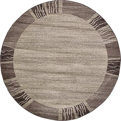 Unique Loom Del Mar Collection Contemporary Transitional Light Brown Round Rug 6 0 x 6 0