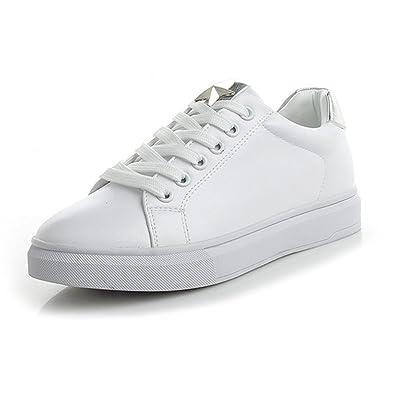 f8944fcdd008 JRenok Chaussure de Sport Femme en Cuir Basket Mode Petite Chaussure Blanche  au Printemps Confortable Sneaker