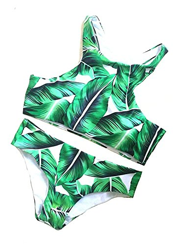 fgherhyijyh Women Sexy Forest Leaves Printing Tankinis Two Piece Bikini Set Leaf-3Medium