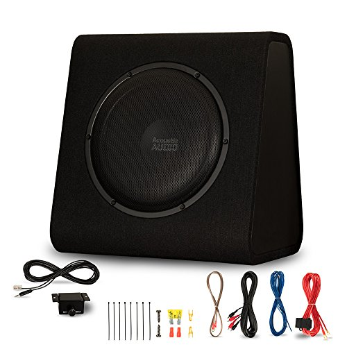 "Acoustic Audio by Goldwood ACA12WG Powered Amplified 12"" Car Ported Subwoofer 900W with Wiring Kit and Remote Level Control, Black"