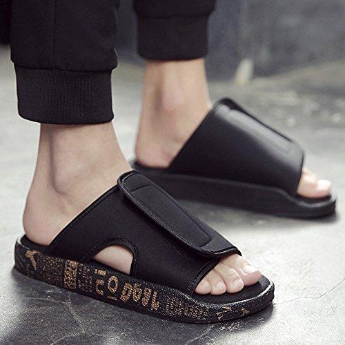 fankou Verano Antideslizante Zapatillas Zapatos Sandalias de Playa Que Son Frescas en Verano y Moda Ocio y Marea,41,906 Oro Negro