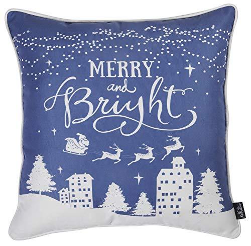 Apolena Decorative Christmas Throw Pillow Covers Santa and Merry Christmas Pillowcase, Christmas Blue Merry and Bright, -