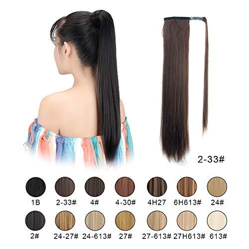 (BARSDAR 26 inch Ponytail Extension Long Straight Wrap Around Clip in Synthetic Fiber Hair for Women (2/33# Darkest Brown mix Dark Auburn)