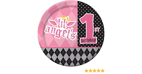 Creative Converting Angel First Birthday Round Dinner Plates, 8 Count
