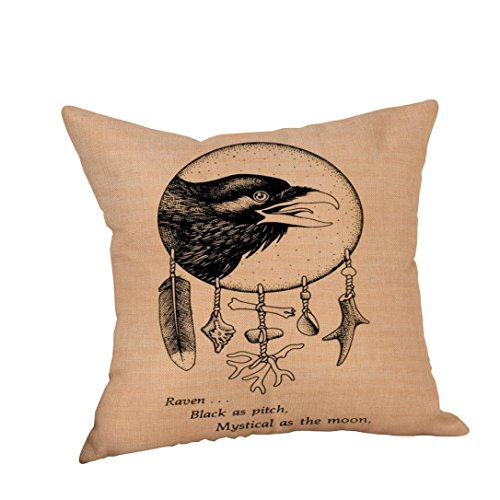 (Decorative Throw Pillow Cases,Woaills Halloween Crow Linen Sofa Cushion Cover Home Decor With Hidden Zipper 18