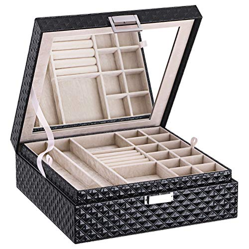 BEWISHOME Jewelry Box 2 Layer Jewelry Organizer Holder for Women Girls - Large Movable Mirror, Bright Embossed Black PU Leather - Display Storage Case for Earring Ring Bracelet Necklace SSH61B