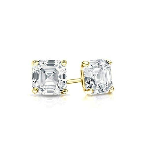 ba5cb34fc77df Amazon.com: Yellow Gold Diamond Solitaire Asscher Cut 1.00 ct CZ ...