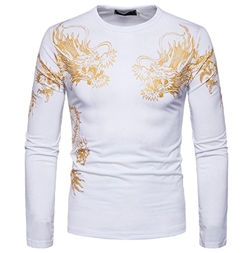 Men Blouse, Fashion Gold Dragon Print O Neck Pullover Long Sleeved T-Shirt Top (L, White)