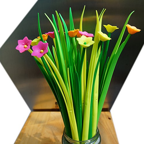 BUOP 24-Count [12+12] Bouquet of Narcissus Assorted Color Flower Pen, Novelty Design Flower Arrangement Style Extra Fine Gel Pen of Grass and Narcissus