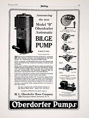 1928 Ad ML Oberdorfer Model B Automatic Bilge Pump Yacht Boat Parts Sailing YYM2 - Original Print Ad (Wall Atic)