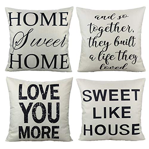 VAKADO Home Sweet Home Decorative Quote Throw Pillow Covers Cases Rustic Family Words Country Decor 18x18 Set of 4 Cushion for Couch Sofa,Love You More (Country Couch)