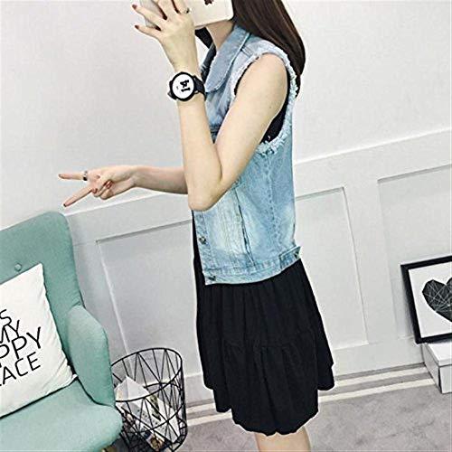 Hellblau Fit Giacche Donna Primaverile Giacca Casuali Marca Cappotto Eleganti Smanicato Mode Autunno Denim Jeans Corto Vintage Gilet Slim Bavero Di 7HSwBaSx