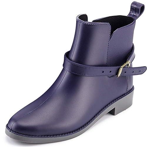 Damen Blau Flach Frauen Chelsea Braun Stiefeletten Gummistiefel Regenstiefel Blockabsatz Schwarz Wellington Boots Kurz TlJuc5KF13