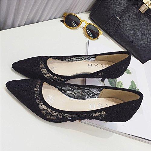 ZHANGYUSEN Scarpe Lace alto e Estate lavoro Nero profonda poco ha il netto scavati scarpe sottile sottolineato scarpe Donna tacco 8rE8xvwFq