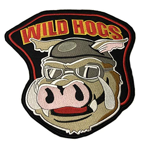 Wild HOGS Embroidered Large Jacket Back Patch Motorcycle Biker Club Series Vests Ghost Skull Hog Outlaw Rocker Jumbo Iron or Sew-on Emblem Badge Appliques Application Fabric Patches ()