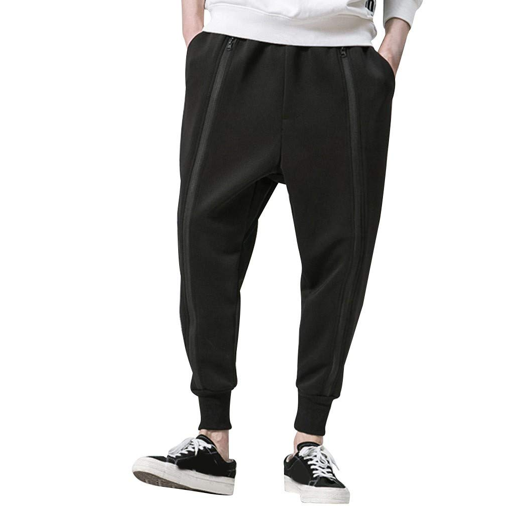 Armfre Bottom Mens Harem Twill Joggers Pants Low Crotch Pleated Baggy Pant with Zipper Ankle Tapered Sweatpants Casual Gym Fitness Trouser for Running Workout by Armfre Bottom