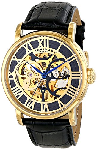 Akribos XXIV Men's AK540YGB Automatic Self-Wind Movement Watch with Black and See Thru Skeleton Center Dial With Black Genuine Leather Strap
