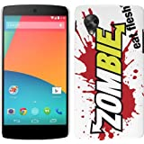 LG Google Nexus 5 Case - White, Red & Yellow Hard Plastic (PC) Cover with Funny Zombie Eat Flesh Design