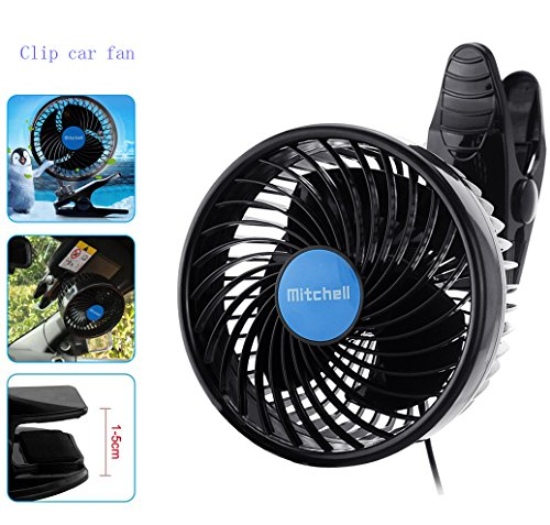 Jhua 12V 6 inch Car Clip Fan Automobile Vehicle Cooling Car Fan Powerful Quiet Speedless Ventilation Electric Car Fans With Clip Cigarette Lighter Plug for Summer by Jhua (Image #1)