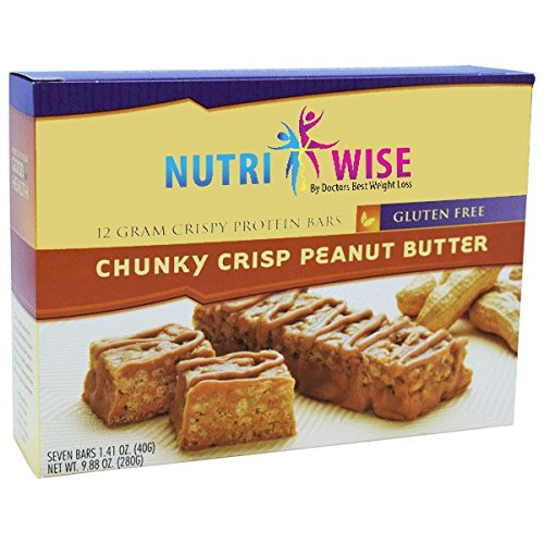 NutriWise - Chunky Crisp Peanut Crispy Diet Bar | Low Sugar, Low Cal, Low Fat, High Protein, Gluten Free (7/Box)